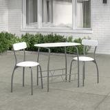 Ebern Designs Paugh Space Saver 3 Piece Dining Set Glass/Metal in White, Size 29.5 H x 35.5 W x 19.75 D in   Wayfair