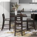 Red Barrel Studio® 5-Piece Wooden Counter Height Dining Set w/ Padded Chairs & Storage Shelving, Gary Wood/Upholstered Chairs in Brown | Wayfair