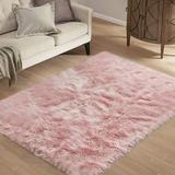 Everly Quinn Faux Sheepskin Fur Area Rug Rectangle, Fluffy Soft Fuzzy Plush Shaggy Carpet Throw Rug For Indoor Floor, Sofa, Chair, Bedroom in Pink