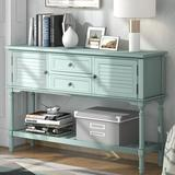 Rosecliff Heights Console Table 2 Drawers Sideboard 2 Compartments Rectangular Entryway Desk For Living Room, Type 4 Wood in Green   Wayfair