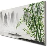 Bayou Breeze Traditional Chinese Painting Black & White Landscape Canvas Wall Art Bamboo Artwork Canvas & Fabric in Brown | Wayfair