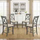 Gracie Oaks 4-Piece Counter Height Dining Upholstered Chairs, Gray+Beige Cushion Wood/Fabric in Brown/Gray, Size 38.0 H x 18.9 W x 17.3 D in Wayfair