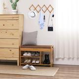 Latitude Run® Shoe Rack Bench, Entryway 3-Tier Shoe Organizer, Max Load 270 LBS, Bamboo Storage Shelf w/ Cushion For Boots in Brown | Wayfair
