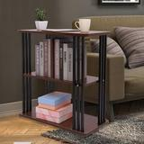 Latitude Run® Rustic End Table 3-Tier Chair Side Table Night Stand w/ Storage Shelf For Room Wood in Black/Brown, Size 25.0 H x 40.0 W x 15.0 D in