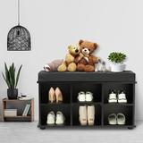 Rebrilliant Shoe Bench w/ Cushions, 6-Cube Storage Bench, Shoes Cabinet w/ Padded Seat, Perfect For Entryway, Entrance Hallway, Bedroom, Living Room
