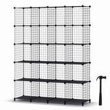 Rebrilliant Wire Cube Storage, Storage Shelves 20 Cube Bookshelf Bookcase Closet Organizer & Storage in Black, Size 61.4 H x 47.2 W x 12.0 D in