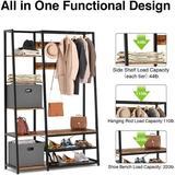 "17 Stories Hall Tree w/ Storage Bench, 5-In-1 Entryway Shelf w/ Coat Rack, 70.8"" Coat Stand w/ 5 Side Shelves, 2 Foldable Storage Cubes | Wayfair"