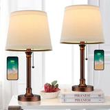 Canora Grey USB Table Lamp Set Of 2 For Bedroom Living Room Office Modern Bedside Desk Lamps Nightstand Lamp Metal Reading Lamp Brushed Steel Metal/Fabric
