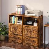 17 Stories File Cabinet w/ Drawer, Filing Cabinet w/ Storage Shelf, Vertical Office Cabinet w/ File Drawer Wood in Brown | Wayfair