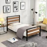 17 Stories Twin Size Platform Bed Frame w/ Wooden Headboard & Metal Slats Wood/Wood & Metal/Metal in Brown/Gray/Green, Size 39.4 W x 75.2 D in