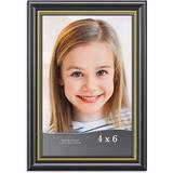 """Red Barrel Studio® Maisanet 4"""" x 6"""" Polyresin Single Picture Frame in/Gold in Black, Size 6.9 H x 4.9 W x 0.5 D in 