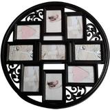 Red Barrel Studio® 4X6 Wall Collage Picture Frames 4X6- Round Circular Wall Hanging Picture Photo Collage Frame w/ Leaf Decoration in Black | Wayfair