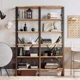 17 Stories Double Width 6 Floors Open Bookcase Retro Industrial Large Bookcase in Brown, Size 76.0 H x 53.2 W x 11.8 D in   Wayfair