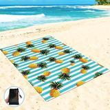 Bay Isle Home™ Sandfree Fruits Beach Blanket Outdoor Picnic Blanket Waterproof Outdoor Mats For Beach, Pineapple in Blue | Wayfair