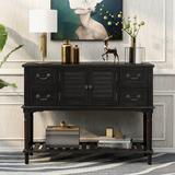 Longshore Tides Console Table For Entryway Buffet Table Sideboard Sofa Table w/ Shutter Doors & 4 Storage Drawers in Brown/Green   Wayfair