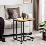Inbox Zero End Table, Side Table, TV Tray, C Shaped Snack Table w/ Metal Frame, Rolling Casters, Industrial, For Living Room, Bedroom in Brown