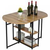17 Stories Folding Versatile Dinner Table w/ 2 Storage Racks Space Saving Kitchen Wood/Metal in Brown, Size 29.5 H in | Wayfair