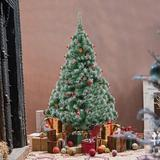 The Holiday Aisle® Artificial Christmas Tree 6 Foot Flocked Snow Trees w/ Decoration-Best Choice Products 6Ft Pre-Decorated Holiday Christmas Tree
