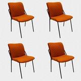 George Oliver Modern Dining Chairs Set Of 4, Velvet Upholstered Cushion Side Chair, Mid Century Light Luxury Home in Orange | Wayfair