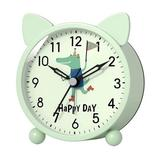 Isabelle & Max™ Cute Small Sage Battery Operated Gift Alarm Clock For ,Mint Crocodile Small Analog Silent Table Clock w/ Night Light Function