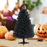 The Holiday Aisle® 3 Ft Black Artificial Tree Unlit Halloween & Christmas Decoration Tree Compact Festival Party Supplies in Black/Green   Wayfair