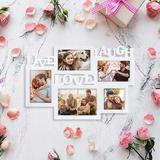 Latitude Run® Picture Frame Collage w/ Display Photos, Personalized Picture Frame Live Laugh Love Sign For Wall Home Decor in White | Wayfair