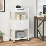 17 Stories Modern Vertical Filing Cabinet, Large Printer Stand w/ Open Storage Shelves & Drawer Wood in White, Size 43.31 H x 19.68 W x 15.75 D in