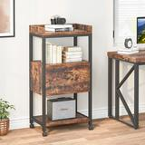 17 Stories Modern Vertical Filing Cabinet, Large Printer Stand w/ Open Storage Shelves & Drawer Wood in Black, Size 43.31 H x 19.68 W x 15.75 D in