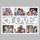 Latitude Run® Collage Picture Frame Display Photos w/ Glass, Personalized Photo Frames Love For Family Gallery Wall Decor in Gray/White | Wayfair