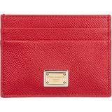 Genuine Leather Credit Card Case Holder Wallet - Red - Dolce & Gabbana Wallets