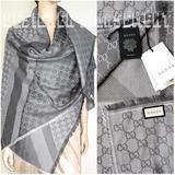 Gucci Accessories | Gucci Pearl & Medium Gray Ggweb Giant 55-Sqre Woolsilk Pashmina Shawl Scarf | Color: Gray | Size: 55x55