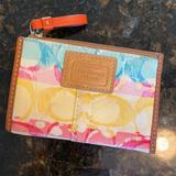 Coach Accessories | Coach Multi Colors Credit Card Id & Keychain Purse | Color: Orange/Red/Silver | Size: Approx 412 Wide 3 Tall