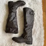 American Eagle Outfitters Shoes | Dark Cocoa High 2 Buckles Round Toe Leather Boots | Color: Brown | Size: 6.5