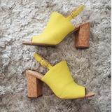 Jessica Simpson Shoes | Chunk Heel Mule Yellow Jessica Simpson Heel | Color: Tan/Yellow | Size: 8.5