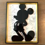 Disney Wall Decor   Mickey Mouse Silhouette Sketch 11x14 Wall Art   Color: Black/Gold/White   Size: 11x14
