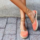Free People Shoes | Free People Coral Marina Lace Up Espadrilles | Color: Red/Tan | Size: 40eu