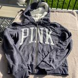 Pink Victoria's Secret Tops | Ln Pink Sherpa Lined Hooded Zip Up Sweatshirt M | Color: Blue/Gray | Size: M
