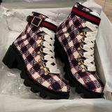 Gucci Shoes | Gucci Zumi Gg Check Tweed Ankle Boot Sz 6=36 | Color: Blue/Red | Size: 6