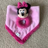 Disney Accessories | Disney Minnie Mouse Rattle Security Blanket Lovey | Color: Black/Pink | Size: 14 X 14