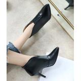 YOUTHJUNE Women's Casual boots Black - Black Cutout Pointed-Toe Ankle Boot - Women