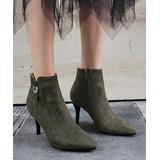 BUTITI Women's Formal Boots Green - Green Rhinestone Ring-Accent Stiletto Bootie - Women