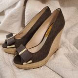 Michael Kors Shoes | Mk Meg Platform Peep Toe Wedges | Color: Brown | Size: 8