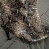 Nine West Shoes | Ankle Boot Heels - Snake Print | Color: Black/Gray | Size: 9.5