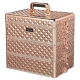 Byootique kids 3In1 Makeup Train Case Rose Gold Hand Carry Cosmetic Organizer Storage Metal in Pink, Size 14.1875 H x 10.0625 W x 14.1875 D in