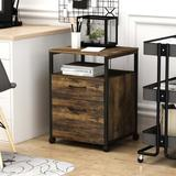 17 Stories Filing Cabinet, Industrial Printer Stand w/ Storage On Wheels Home Office Cabinet Drawer, Mobile Vertical File Cabinet w/ Open Shelf