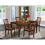 Red Barrel Studio® 4 Chairs Dining Table, Faux Leather Seat, Caml5-Mah-Lc Wood/Upholstered Chairs in Brown/Green, Size 29.0 H in   Wayfair