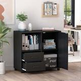 Latitude Run® 2-Drawer Wood File Cabinet, Mobile Lateral Filing Cabinet, Printer Stand w/ Open Storage Shelves For Home Office, Black | Wayfair