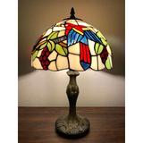 Bloomsbury Market Tiffany Style Table Lamp Parrots H19*W12 Inch Glass/Metal in Brown, Size 19.0 H x 12.0 W x 12.0 D in   Wayfair