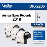 """Brother DK-2205 Continuous Paper Labels (White, Cut-to-Length Labels, 2.4"""" x 100', DK-22053PK"""