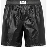 Laminated Mid-length Swim Trunks With D&g Patch - Black - Dolce & Gabbana Beachwear